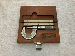 Brown And Sharpe Number 1 Micrometer With Mahogany Case
