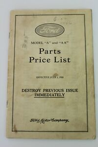 Original 1931 Ford Parts Price List Model A And Aa Hardware Catalog Rare