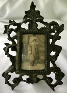 Victorian Antique Ornate Cast Iron Easel Picture Frame 1800s Little Girl Pic Aww