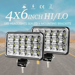 Pair 4x6 Square Led Headlights Sealed Hi lo Beam Fog Light W Mounting Brackets
