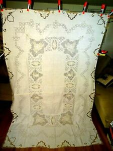 Vintage Madeira Linen Tablecloth Embroidered Needlework Cutwork Sz 103 X 69