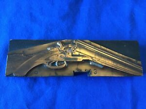 Antique Fisher Double Barrel Shotgun Advertising Printing Block Copper Faced