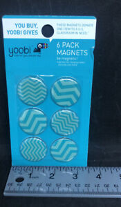Yoobi Round Magnets 6 Count New In Pack Teal