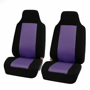 Purple Black Highback Front Bucket Seat Covers Pair