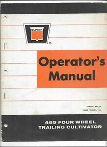 Original Oliver 485 Four Wheel Trailing Cultivator Operators Manual 437104 02 69