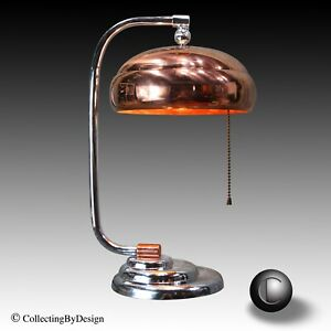 Vtg 1930 S Machine Age Art Deco Chrome Copper Tiered Base Desk Lamp Restored