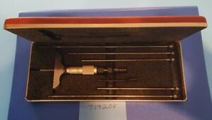 Nice Starrett Depth Micrometer 440 0 6 In 2 5 In Base With Red Padded Case Usa