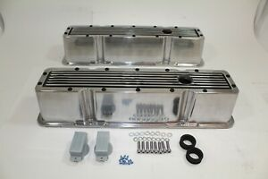 Chevrolet Small Block Tall Valve Covers Ribbed Style Polish Bk 283 400