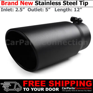 Angled Black 12 Inch Bolt On Exhaust Tip 2 5 In 5 Out Stainless Truck 202568