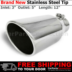 Universal Stainless Truck Angled Polished 12 Inch Bolt On Exhaust Tip 3 In 5 Out