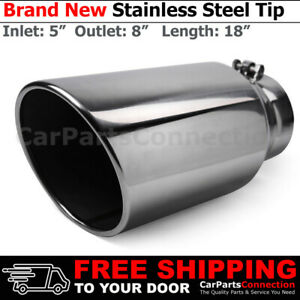 Angled Polish 18 Inch Bolt On Exhaust Tip 5 In 8 Out Stainless Truck 203109