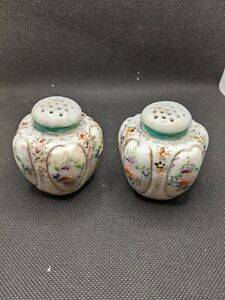 Vintage Antique Salt And Pepper Shakers Hand Painted Floral And Gold No Stoppers