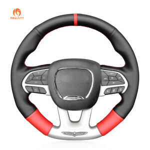 Black Red Pu Leather Steering Wheel Cover For Dodge srt Challenger Charger