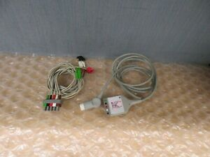 Philips M1520a Ecg Trunk Cable 12 Pin With 5 Lead Wires Pinch grabber 17789