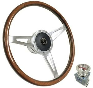 15 Polished Walnut Wood Steering Wheel W Horn For 1968 1970 Shelby Mustang