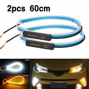 60cm Slim Sequential Flexible Amber Led Drl Turn Signal Strip Light Headlight X2
