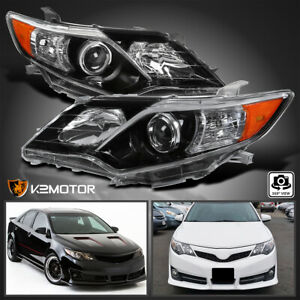 Se Style For 2012 2014 Toyota Camry Jet Black Projector Headlights Left Right