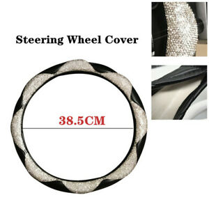 1x Diamond Leather Steering Wheel Cover With Bling Bling Crystal Rhinestones