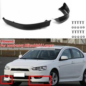 2pcs Front Bumper Lip Spoiler Splitter Matte Black For Mitsubishi Lancer 2008 15