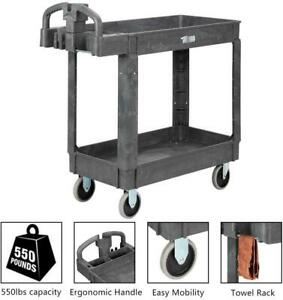 Plastic Utility Service Cart 550lbs Capacity 2 Shelves Rolling Storage Organizer