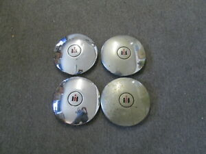Vintage Set Of 4 International 9 1 2 Chrome Tractor Center Cap Cover