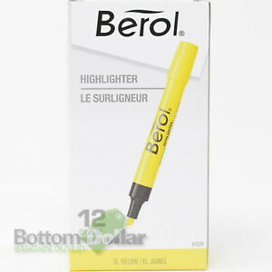 Berol 64324 12 pack Chisel Tip Highlighters Fluorescent Yellow