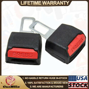 2pack Safety Alarm Universal Car Seat Belt Clip Buckle Extender Extension Black