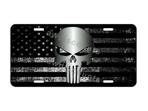 Custom Punisher Skull Tactical American Usa Flag Vanity License Plate Car Tag