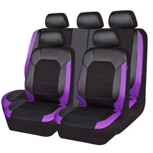 Carpass Black Purple Car Seat Cover Universal Full Set Rearsplit For Nissan Ford
