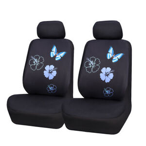 Car Pass 6pcs Blue Color Butterfly Flowers Mesh Fabric Universal Car Seat Covers