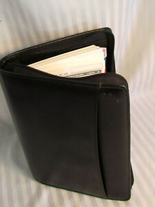 Nr Mint Day Runner Black Sim Leather 3 Ring Planner With Pages Cell Pocket