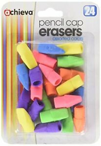 Officemate Oic Achieva Pencil Eraser Caps 24 In A Pack Assorted Colors 30552