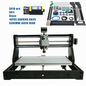 3 Axis Cnc 3018 Pro Machine Router Engraving Pcb Wood Diy Mill 5500mw Laser Head