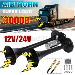 Autoleader 300db Dual Trumpet Loud Air Horn 12v 24v Car Truck Train Lorry Black