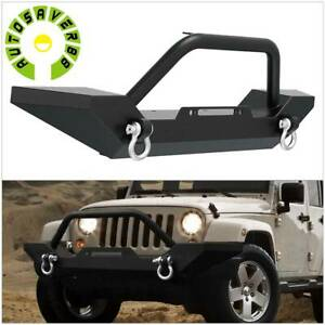 Powder Coated Front Bumper W D Ring Hardwares For 87 06 Jeep Wrangler Tj Yj