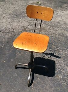 Vintage Adjustrite Wood Metal Stool