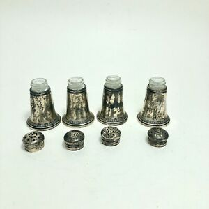Crown Sterling Silver Set Of 4 Glass Lined Salt Pepper Shakers