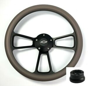 14 Black Steering Wheel Dark Gray Wrap Chevy Bowtie Horn Button Adapter A17