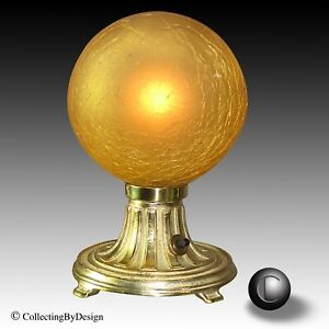 Vtg 1920 S Art Deco Brass Crackle Globe Lamp Restored