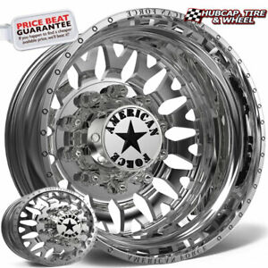 American Force G17 Evo Polished 22 5x8 25 Dually Wheel 10 Lug Rim Set 6