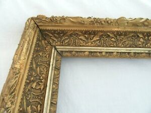 Big Antique Fits 19 X 23 Gold Picture Frame Wood Gesso Ornate Fine Art Country