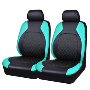 Car Pass Car Seat Cover Mint Green Color Leather Universal For 2 Front Seat Fit
