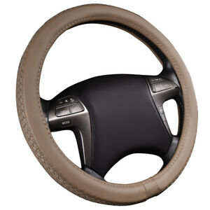 Car Pass Weave Pu Leather Steering Wheel Cover Beige Universal Fit 14 5 15 5inch