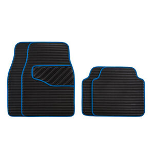 Car Pass Blue Universal Fit Leather Car Floor Mat Front And Rear Mats Set Of 4