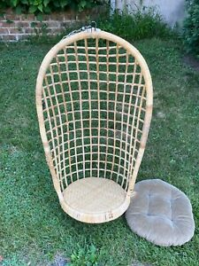 Vtg Mid Century Egg Swing Rattan Wicker Bamboo Hanging Chair Pa