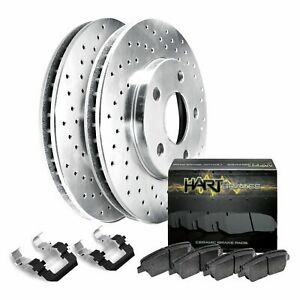 Fit 2013 2014 Ford Mustang Rear Hart Drilled Brake Rotors ceramic Brake Pads