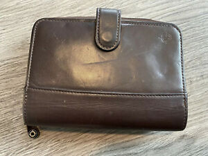 Compact 1 Brown Nappa Leather Franklin Covey Planner Organizer Snap zip Usa 5x7