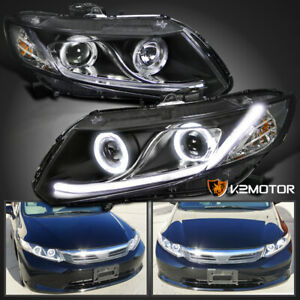 Fits 2012 2015 Honda Civic Dual Halo Led Projector Headlights Black Pair