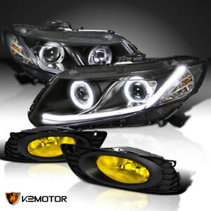 Fits Black 2012 Honda Civic Dual Halo Projector Headlights W led Drl yellow Fog