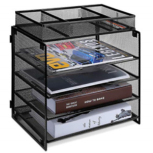 5 Tier Letter Paper Tray Mesh Desk File Organizer With Letter Trays And Sorter